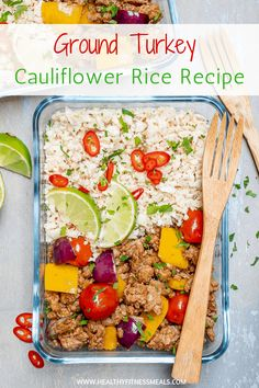 Ground Turkey Cauliflower Rice Recipe - Ground Turkey Cauliflower Rice Recipe Michelle Cruz Fitness Food Ground Turkey Cauliflower Rice Recipe is perfect for lunch or dinner and so easy to make. They are also great for those who love to meal prep. Ground Turkey Meal Prep, Healthy Ground Turkey, Ground Turkey Recipes, Clean Dinner Recipes, Clean Eating Dinner, Rice Recipes, Cooking Recipes, Healthy Recipes, Keto Recipes