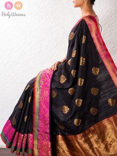 Black Kadhuan Brocade Raw Silk Saree