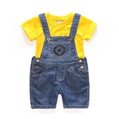 Minions Baby Denim Overalls & T-Shirt - The Lavender Lilac