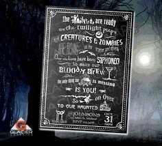 Custom Halloween Chalkboard Invitation by WAGlacierGraphics