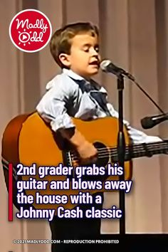 """A little boy billed as """"John Cash"""" makes the crowd go wild with an astonishingly mature rendition of 'Folsom Prison Blues.' His extraordinary talent shines through as he delivers a killer performance of the beloved country classic. I wish I was that accomplished at that age. #Kids #JohnnyCash #Music #Singing #Guitar #CountryMusic Feel Good Pictures, Best Funny Pictures, Music Songs, Music Videos, John Cash, Elvis Sings, Amazing Songs, Music Clips, Funny Videos For Kids"""