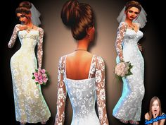 A long white wedding dress with a lace pattern and a long Ivory wedding dress with a lace pattern. What more could a girl ask for. Found in TSR Category 'Sims 4 Female Everyday'