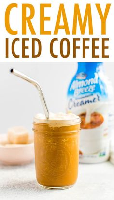 Creamy iced coffee made with frozen cubes of Almondmilk Creamer and cold brew coffee. It's the perfect, refreshing drink to get your morning started. Blended Ice Coffee, Frozen Coffee, Iced Coffee, Almond Milk Creamer, Almond Milk Recipes, Vegan Recipes, Cold Brew Coffee Concentrate, Almond Breeze, Create A Recipe