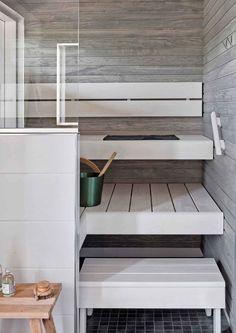 Two Color sauna Sauna Steam Room, Sauna Room, Sauna Design, Finnish Sauna, Spa Rooms, Cozy House, Interior Design Living Room, Sweet Home, New Homes