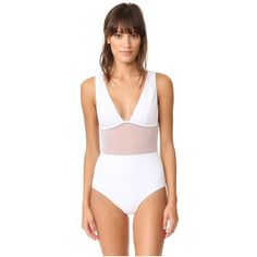Zimmermann Separates Plunge Mesh One Piece (1.500 RON) ❤ liked on Polyvore featuring swimwear, one-piece swimsuits, white bonded, white high waisted swimsuit, one piece swim suit, high-waisted bathing suits and high waisted bathing suits