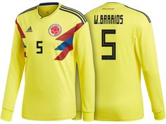 152c3e94c World Cup Kit Colombia 2018 wilmar barrios LS Home Soccer Jersey World Cup  Kits