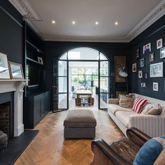 Love Renovate — Crittall style ideas for your home Victorian House Interiors, Edwardian House, 1930s House Interior, Home Living Room, Living Room Designs, Living Room Decor, 1930s House Renovation, Open Plan Kitchen Dining Living, Villa