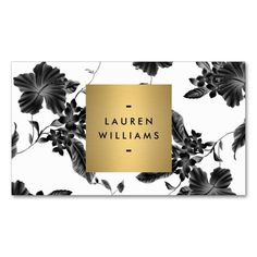 Elegant Black Floral Pattern 4 with Gold Name Logo Double-Sided Standard Business Cards (Pack Of 100). This great business card design is available for customization. All text style, colors, sizes can be modified to fit your needs. Just click the image to learn more! #GreatBusinessCardMakers