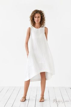 Sleeveless linen dress with high-low hem for those who like style and comfort. Light and soft linen summer dress. Handmade linen clothing for women. White Linen Dresses, White Midi Dress, Midi Dresses, Linen Summer Dresses, Womens Linen Dresses, Dress Summer, Summer Outfit, Lace Dress, Meghan Markle Dress