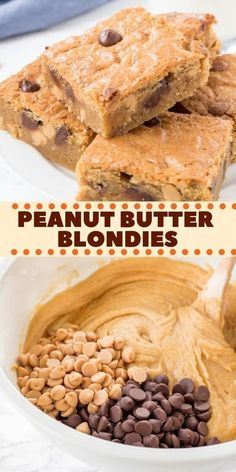 This soft and chewy Peanut Butter Blondies have a delicious peanut butter flavor and plenty of peanut butter chips. They're made in 1 bowl with no mixer - and taste delicious with a cold glass of milk. # Easy Recipes for 1 Peanut Butter Blondies Peanut Butter Blondies Recipe, Peanut Butter Chips, Peanut Butter Recipes, Peanut Butter Cookie Bars, Desserts With Peanut Butter, Recipes With Chocolate Chips, Chocolate Peanut Butter Brownies, Desserts, Peanut Butter