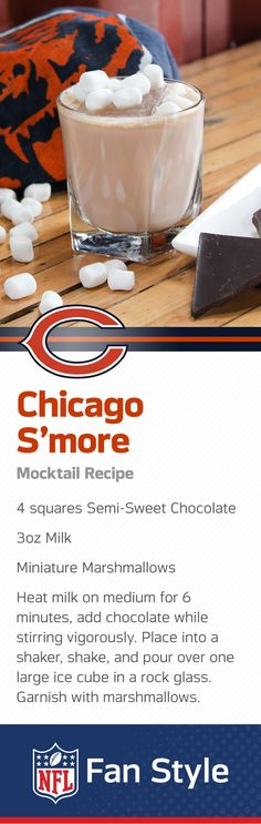 There's absolutely zero chance that you'll be able to have just one of these delicious marshmallow and chocolate combos. Sure sounds like a batch of these s'more mocktails is on the menu for your next Chicago Bears Homegate.
