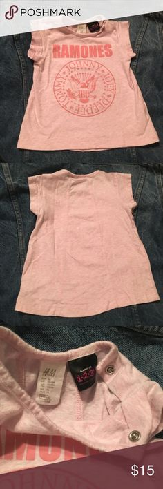 HEY HO! RAMONES Size 12-18 mos Pink Top Tunic RAMONES Girls' Top / Tunic by H&M • Size 12-18 month • Single shoulder snap • Light Pink Marled Cotton, 100% • Excellent pre-owned condition • Smoke-free home  Please review all photos to know exactly what you are purchasing. We can post more photos if needed.  If we forgot anything, just tag us and ask! 💋  No 🅿️🅿️ No Ⓜ️ 🚫 Trades Shirts & Tops