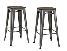 Tabouret Vintage Wood Seat Bar Stool (Set of
