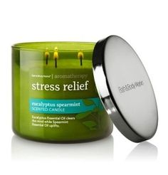 Bath Body Works Aromatherapy Stress Relief Candle Eucalyptus Spearmint -- Continue to the product at the image link. (This is an affiliate link) Bath Candles, 3 Wick Candles, Scented Candles, Candle Wax, Diy Candles, Bath Body Works, Spearmint Essential Oil, Eucalyptus Essential Oil, Essential Oils