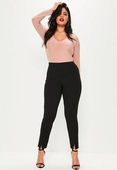 Nail the nude wearing these super chic cigarette trousers - featuring a skinny fit and split hems. They& the perfect piece to top your outfit off. Business Attire For Young Women, Business Casual Outfits, Professional Outfits, Plus Size Clothing Stores, Plus Size Womens Clothing, Trendy Clothing, Clothing Ideas, Plus Size Tips, Plus Size Jeans