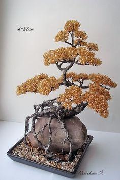 beads bonsai made by hand.