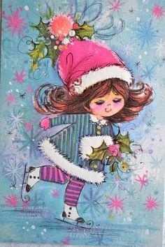 Vintage Christmas Card Mod Pink Ice Skating by Pumpkintruckpaper