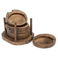 Set of Six Wood Coasters with Caddy - Eco-friendly.