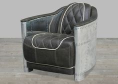 Black Leather Armchair with Areo-Aluminum