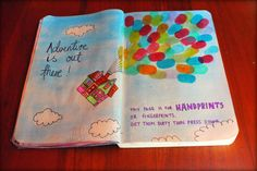 This page is for handprints or fingerprints. Get them dirty then press down. Wreck this journal ideas #up #disney