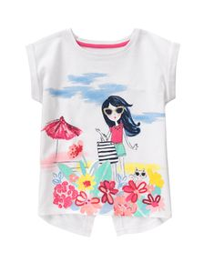 b97f7c64 Gymboree Big Girls' Short Sleeve Beach White Graphic Tee: Dolman graphic tee  with flared back;