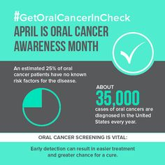 April is Oral Cancer Awareness month. Call us today to schedule your next preventive care appointment and get checked! Dental Jokes, Dental Facts, Dental Hygiene, Dental Assistant, Oral Cancer, Cancer Facts, Family Dental Care, Dental Life, Family Dentistry