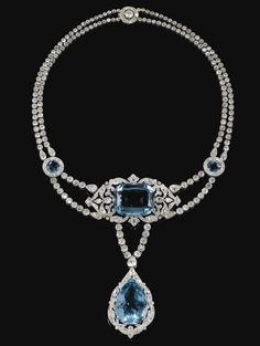FINE AND IMPORTANT AQUAMARINE AND DIAMOND NECKLACE, CARTIER, 1912 - Photo c/o Sothebys