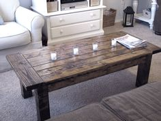 101 Simple Free DIY Coffee Table Plans - With the right decor, a coffee table can be a key design element in your living room design. Diy Coffee Table Plans, Coffee Table Pottery Barn, Solid Wood Coffee Table, Simple Coffee Table, How To Build Coffee Table, Barnwood Coffee Table, Easy Coffee, Coffee Coffee, Coffee Beans
