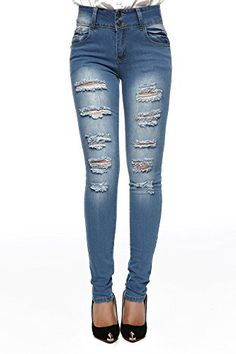 cf3d6279f04 Jeans Womens Blue denim StretchDestroyed Hole ripped skinny pants 9   Check  out the image by