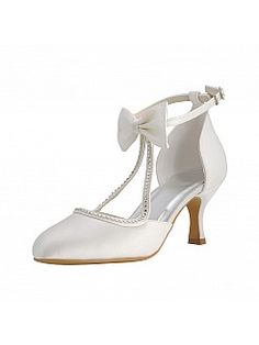 Elegant Satin Mid Heels Bridal Shoes with Bow and Rhinestone - GBP £58.51