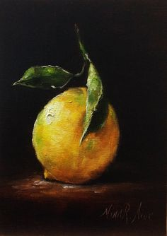 SOLD. Lemon with Leaves Original Oil Painting by Nina R.Aide Studio. Sale oil on linen 7x5 inches