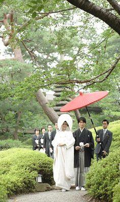 A wedding ceremony of the Japanese style. Shiromuku wedding Kimono & Haori hakama.