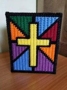 Stained Glass Cross Tissue Topper by CreationbyVera on Etsy Plastic Canvas Box Patterns, Plastic Canvas Tissue Boxes, Plastic Canvas Crafts, Pearl Beads Pattern, Stain Glass Cross, Easter Peeps, Tissue Box Covers, Canvas Ideas, Dinner Rolls