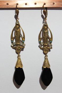 """Circa 1920s/1930s Antique Art Nouveau , Egyptian Revival. Czech, Lower Bohemia rhinestones, brass,4 3/4"""" long  by oldriverantiques"""