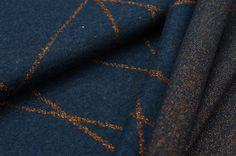 Jacquard-Sweat Mia kupfergold Lurex Glitzer Streifen auf navy blau Melange