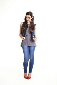 Colete jeans e scarpin!