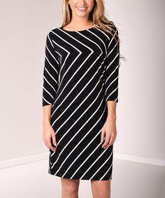 Look what I found on #zulily! Black & White Chevron Three-Quarter Sleeve Dress - Plus #zulilyfinds