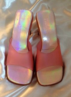 90s Pink Jelly Slip On Heels by thatVideoVAMPvintage on Etsy, $24.00