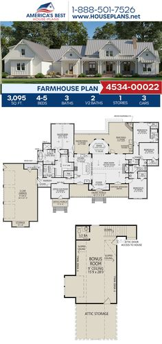 Farmhouse Plan - Farmhouse Plans - Full of superior details inside and out, Plan delivers a Farmhouse with sq. Small House Floor Plans, House Plans One Story, Best House Plans, Dream House Plans, Story House, Dream Houses, Farmhouse Floor Plans, Craftsman House Plans, Farmhouse Layout