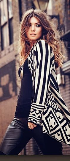Adorable Printed Cardigan With Black Outfit