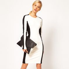 ALI EXPRESS slim hip cor preto e branco blocos patchwork vestido longo manga básica saia lápis