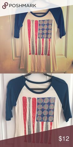 Baseball Mom Tshirt Brand New!!!! Without tags.. Never worn! Soft  Flowy material size S... purchased from specialty boutique. 3/4 sleeve. Smoke free pet free home. X listed Color Bear Tops Tees - Short Sleeve