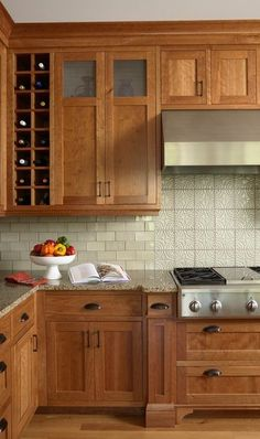 maple? Cabinets with subway tile