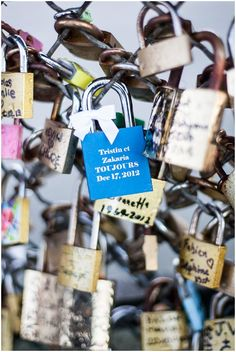 Love padlocks in Paris | could be a really beautiful guest book — each guest (or couple) has a lock that they sign with names and well-wishes, and attach to a decorative fixture that the Bride & Groom take home as a keepsake.