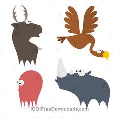 Free Vectors: Cute Animals Vector Set 2   Animals