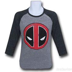 Images of Deadpool Distressed Symbol Baseball T-Shirt