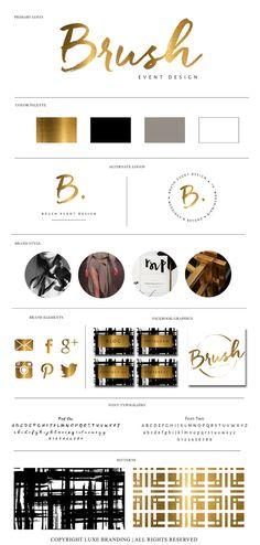 Premade Elegant Brush Calligraphy Logo Branding by LuxeBranding. Bronze Branding.