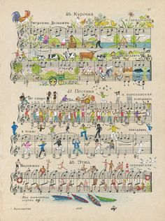 Russian illustrators Alexei Lyapunov and Lena Ehrlich use the notes, staffs, and other musical notation marks on vintage sheet music as a framework to create these inventive illustrations of everyday life and nature.