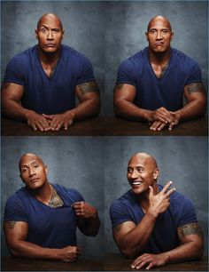 Actor Dwayne 'The Rock' Johnson goes casual in a v-neck tee for Emmy magazine.