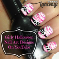 Girly Mummy Halloween Nail Art Designs Full tutorial can be found on YouTube…